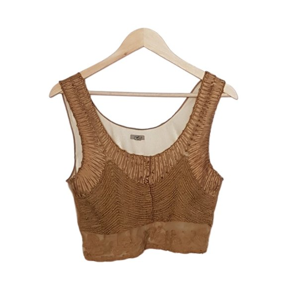 2/$20 - UO Ecote Gold Shimmer Embroidered Crop Top